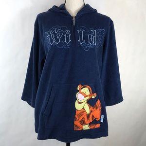 Disney Tigger Fleece Sweatshirt Blue Sz Large